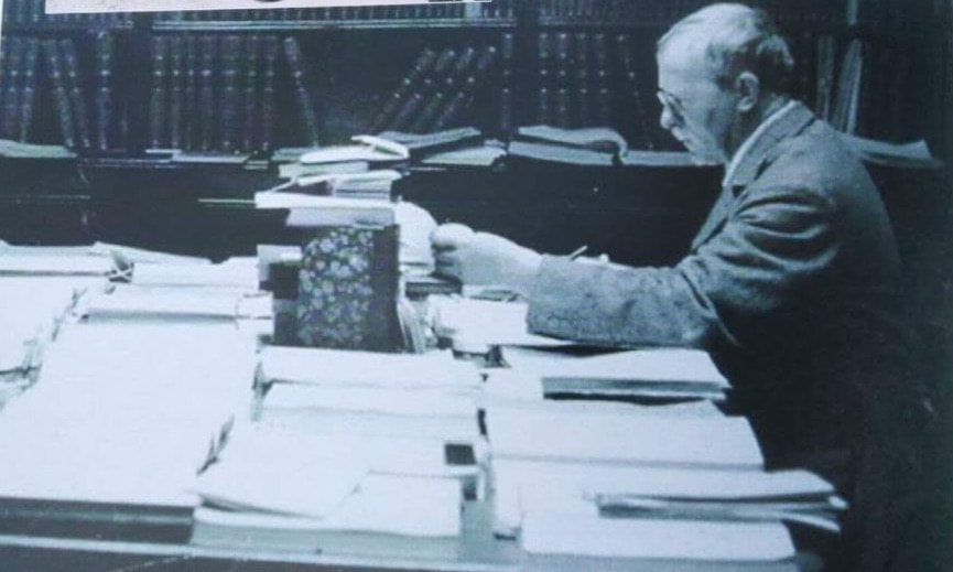 Bellamy at his desk at Radcliffe Observatory, 1934. Photo from Oxford Philatelic Society: A History.