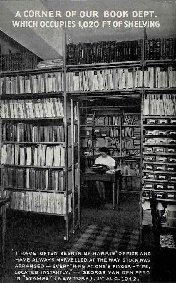 Stock of Books of Albert H. Harris (1942/43). Is it Vera Trinder behind the typewriter?