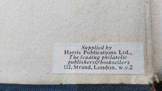 Harris' sticker on the front pastedown of Volume I of my copy of The Journal of the Philatelic Literature Society