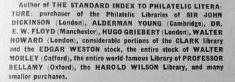 Libraries bought by Harris. From the 'Food for Thought' Philatelic Literature Catalogue (1943 3rd Edition)